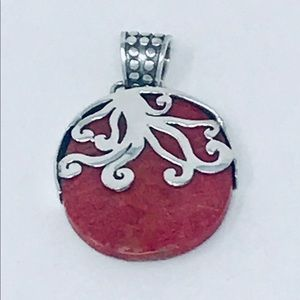 Jewelry - Red Coral double Designs Sterling Silver Pendant